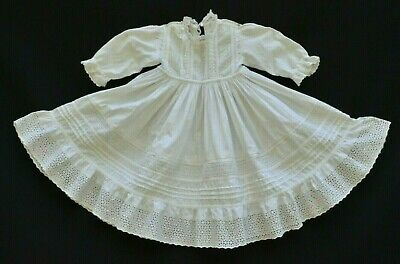 Antique Farmhouse Primitive Victorian Very Early Baby / Doll Dress Eyelet Lace