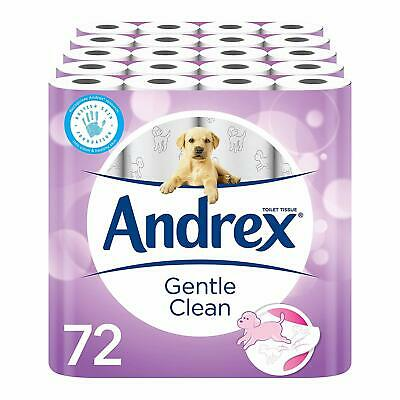 Andrex Gentle Clean Toilet Roll Tissue Paper Pack of 72 Rolls Free P&P NEW