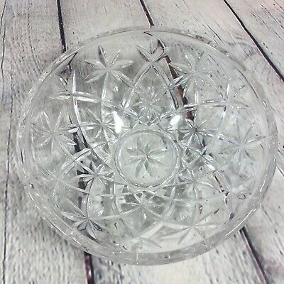 "Pressed Glass Bowl Serving Star Pattern Heavy Clear - 3"" T x 8"" D"