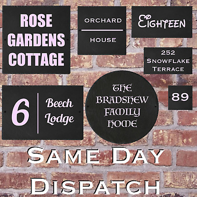 Rustic Slate House Gate Sign Plaque Door Number Personalised Plate Candy Pink