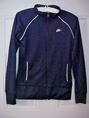 Nike Sports Jacket Girls Size XL 16 Navy Zip Front Polyester Cotton Lined