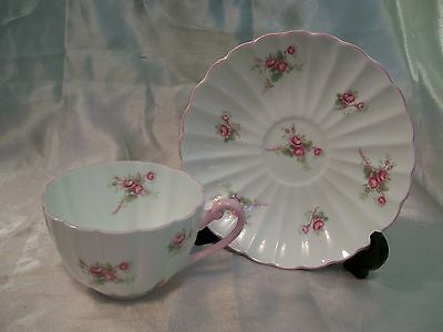 Shelley Bridal Rose Teacup Saucer Ludlow Shape Pink Green Fine Bone China