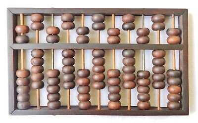 Pre-1900 Chinese Huanghuali Rosewood 77-Bead Wood Abacus Lotus Flower? Antique