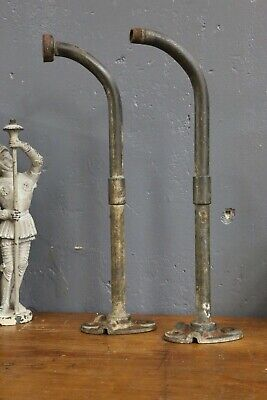 Vintage Pair of 2 Gooseneck Industrial Light Brackets mount for Porcelain Shades