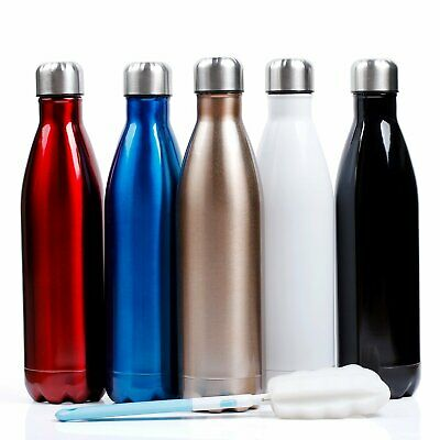 Double Walled Vacuum Water Thermos Bottle Coffee Drink Stainless Steel Gym Flask