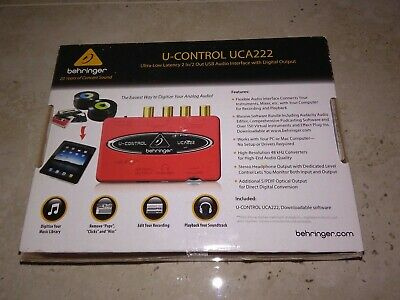 Behringer U-Control Uca222 Ultra-Low Latency 2 In/2 Out Usb Audio Interface With