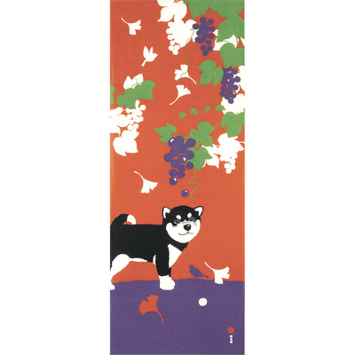 Japanese traditional towel TENUGUI COTTON BLACK SHIBA DOG MAPLE (HA)