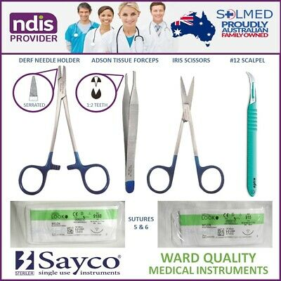 Suture Kit Sterile Complete With Instruments, Sutures Usp 5 & 6 & Stitch Cutter