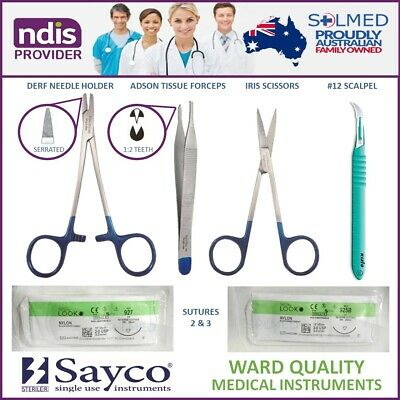 Suture Kit Sterile Complete With Instruments, Sutures Usp 2 & 3 & Stitch Cutter