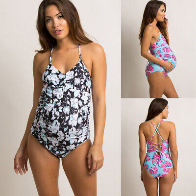 Pregnant Lady Floral Print Fold Edge Holiday Cross Back Strap Women Swimwear