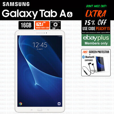"""Samsung Galaxy Tab A 10.1"""" 16GB 2GB  WiFi Android Tablet 1.6Ghz White SM-T580"""