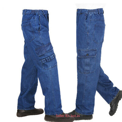 Mens Casual Overalls Denim Pant Cargo Work Pants Workwear Jeans Trousers Pockets