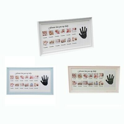 Diy Handprint Photo Frame Baby Boy Girl Anniversary Photo Frame White D3R5