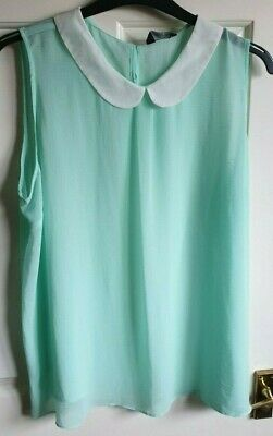 LADIES B.YOU MINT GREEN WHITE PETER PAN COLLARED TOP SIZE 18 BNWT /'SOFT TOUCH/'