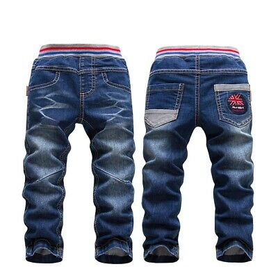 Children Kids Baby Boys Girls Denim Jeans Pants Spring Fall Casual Trousers 2-7Y