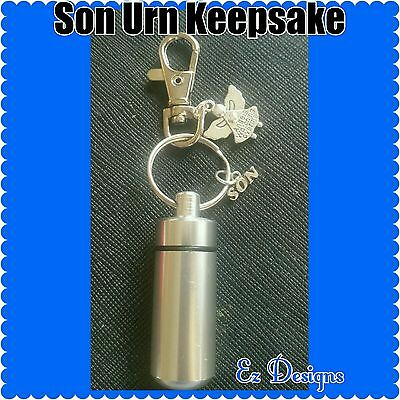 Ashes/Cremation/Urn Keyring  SON Family Charm Memorial Gift Freepost