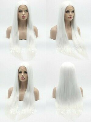 """AU 24"""" Pure White Handtied Lace Front Wig Natural Straight Synthetic Fiber Hair"""