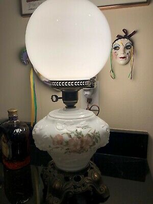 Antique Victorian Banquet Lamp Hand Painted GWTW Gone with the Wind Parlor
