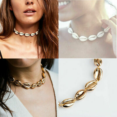 Cowrie Shell Necklace Choker Shells Natural Gold Adjustable Beach Sea Necklaces