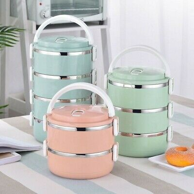 2/3/4 Layers Stainless Steel Insulated Lunch Box Stacking Food Containers Bento