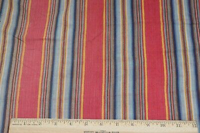 Antique c1850 French Turkey Red, Indigo & Yellow cotton Ticking Stripe Fabric
