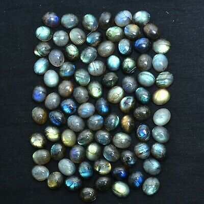 82 Pc Natural Labradorite Untreated Ring Size Glossy Oval Cabochon Gem 12mm/10mm