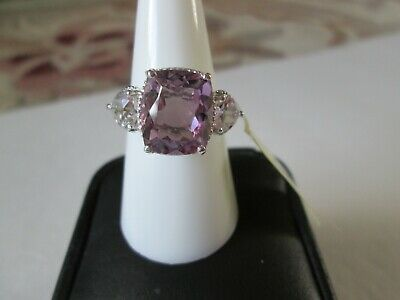 Rose De France Amethyst Platinum over Sterling Silver Ring (Size 7) TGW 6.95 cts
