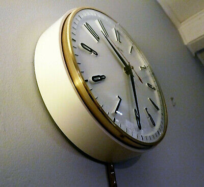 Vintage Retro Mid Century METAMEC electric wall clock White Polished Brass 1950s
