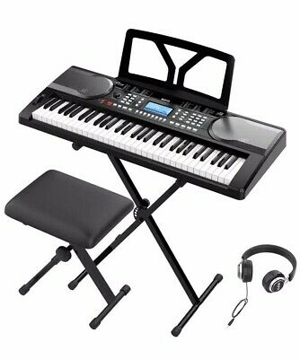 RIF6 Electric 61 Key Piano Keyboard Over Ear Headphones Music Stand LCD Display