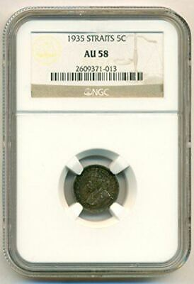 Straits Settlements (Malaysia) Silver 1935 5 Cents AU58 NGC