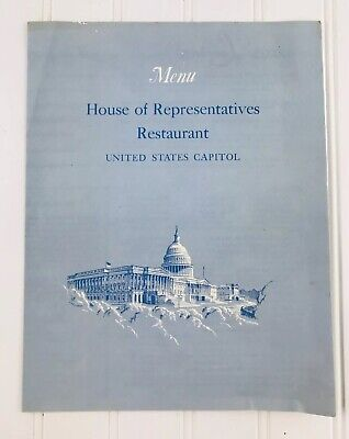 House of Representatives Restaurant Menu United States Capitol 1962 Vintage