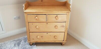 Antique Victorian Country Farmhouse Pine Chest of Drawers very old vgc bathroom