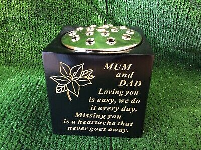 MUM & DAD Black & Gold Memorial Vase Grave Garden Ornament for Flowers