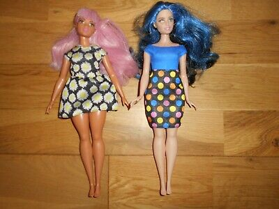 2 Barbie Fashionistas Dolls Curvy Body Type Daisy Pop Pink Hair & Blue Hair Doll