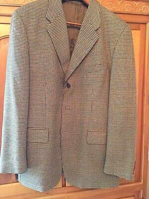 Ralph Lauren Mens 3 Button Blazer Tan Houndstooth Check Size 46L Long GUC