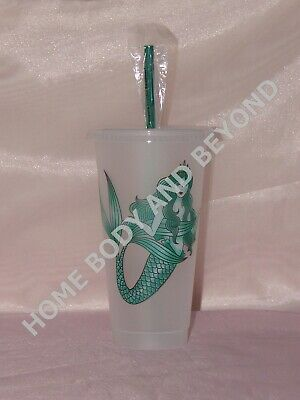 STARBUCKS Siren Mermaid Reusable Venti 24 OZ Frosted Plastic Ice Cold Drink Cup