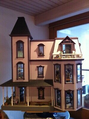 rare very large fully equipped Dollhouse 1:12, seltenes sehr grosses Puppenhaus