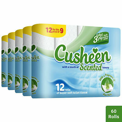60 Aloe Vera Cusheen 3Ply Quilted Soft Toilet Rolls - Lovely Scent