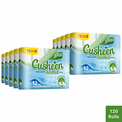 120 Aloe Vera Cusheen 3Ply Quilted Soft Toilet Rolls - Lovely Scent