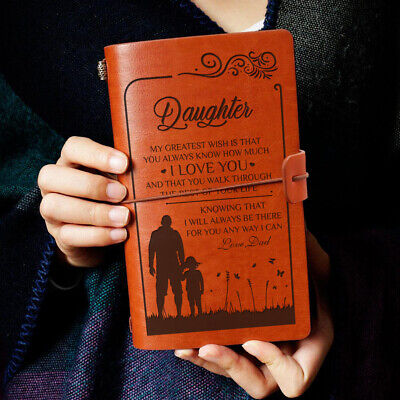 To My Daughter Greatest Love Dad Engraved Leather Journal Notebook Diary