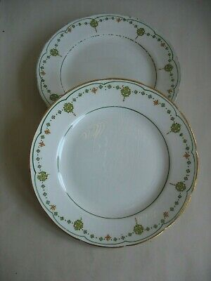 "3 VINTAGE CROOKSVILLE CHINA CO STINTHAL CHINA 8"" PLATES Deco design Green orange"