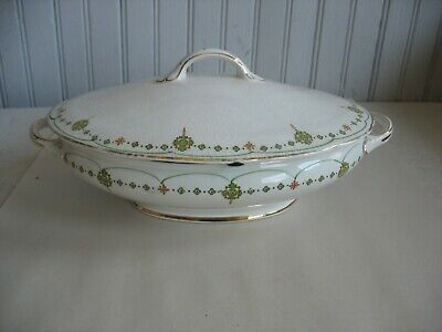 VINTAGE CROOKSVILLE CHINA STINTHAL Cov Veg dish Deco Nouveau Green orange