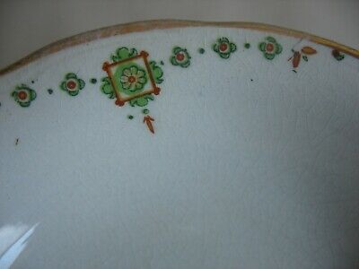 "8 VINTAGE CROOKSVILLE CHINA STINTHAL 5 1/4"" fruit bowls Deco Green orange"