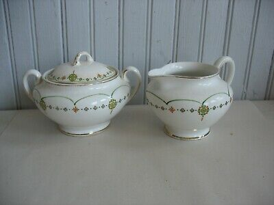 VINTAGE CROOKSVILLE CHINA STINTHAL Creamer & Sugar bowl Deco Green orange