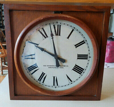 Antique THE STANDARD ELECTRIC TIME CO Wood Cased Wall CLOCK Springfield Mass
