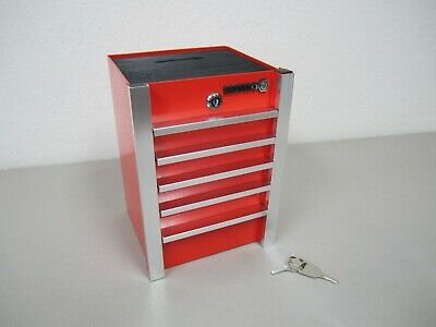 Matco Red Metal Tool Box Coin / Piggy Bank with Key
