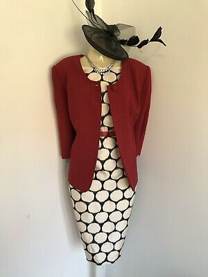 JACQUES VERT Size 16 Outfit Mother Of The Bride Red Jacket Spotty Dress Wedding