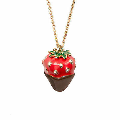 Kate Spade Chocolate Dipped Strawberry Necklace NWT Sweet Just Desserts!