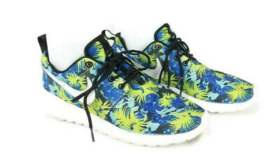 NIKE ROSHE RUN Floral Print Size 11.5 Blue Green $35.00