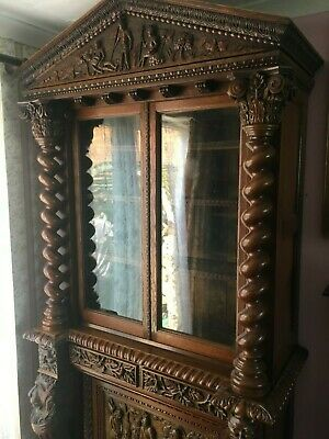 Antique French Bookcase  Heavily Carved Solid Oak 19th Century Circa 1890